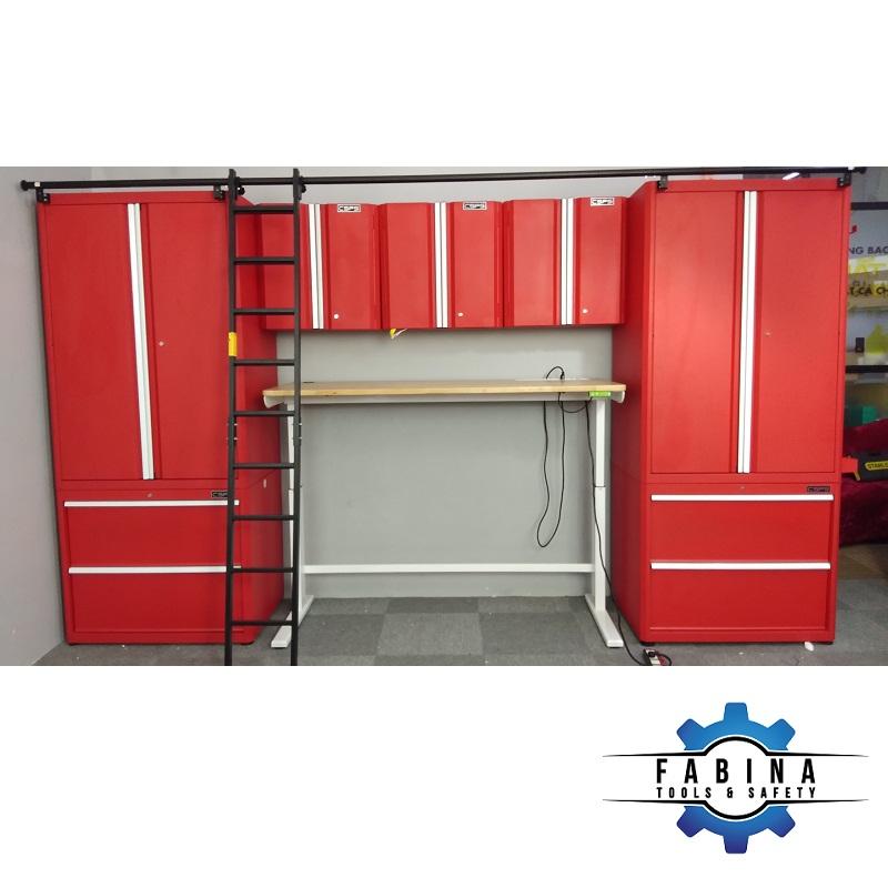 Bộ tủ đỏ và bàn làm việc nâng hạ điện tử CSPS