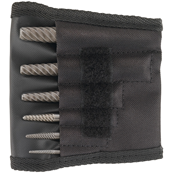 Screw extractor set, 6-piece, in a textile wallet with coarse flutes 6