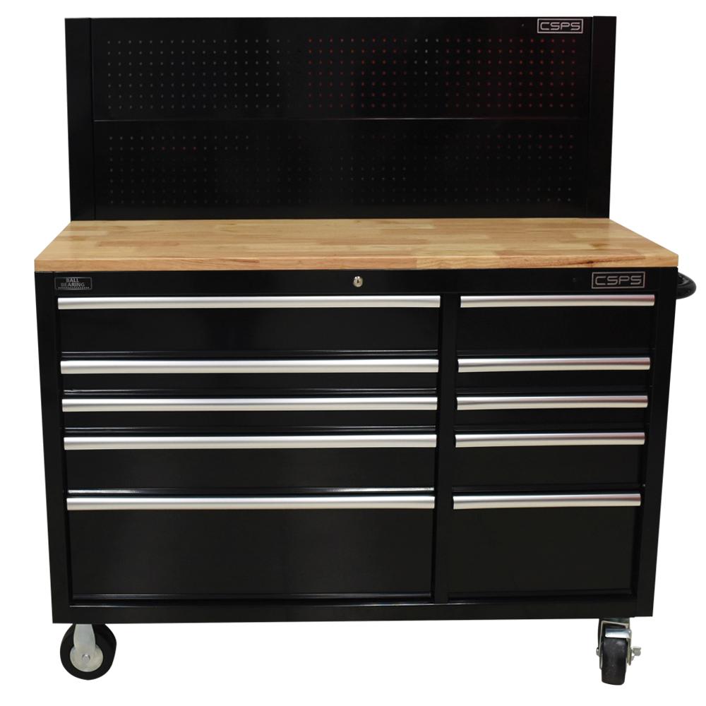 Tủ đồ nghề 10 ngăn mặt ván gỗ kèm vách lưới CSPS