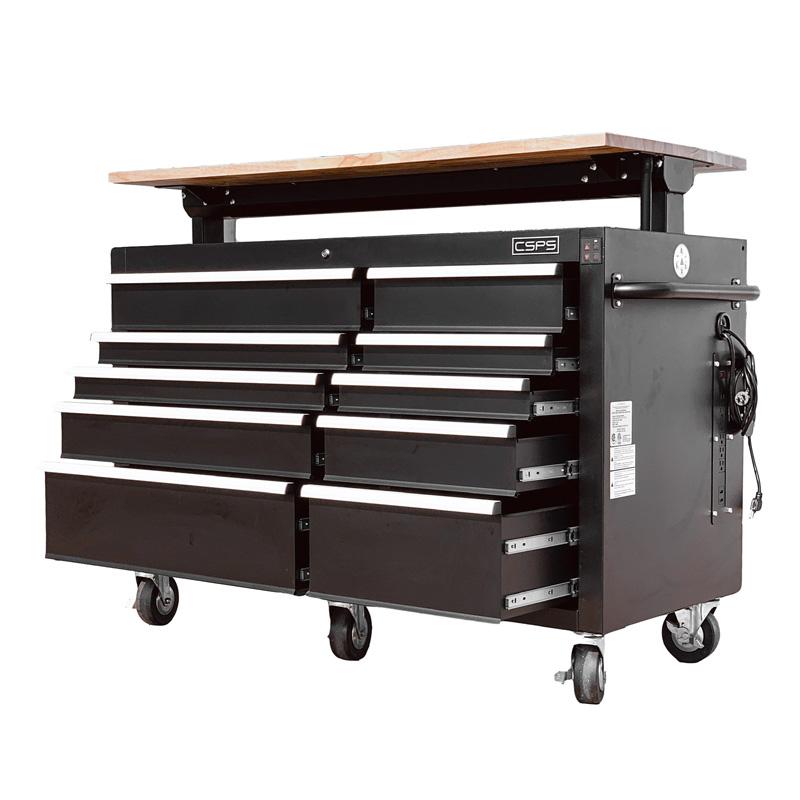 Tủ dụng cụ 10 ngăn đen cao cấp điều chỉnh chiều cao điện tử CSPS