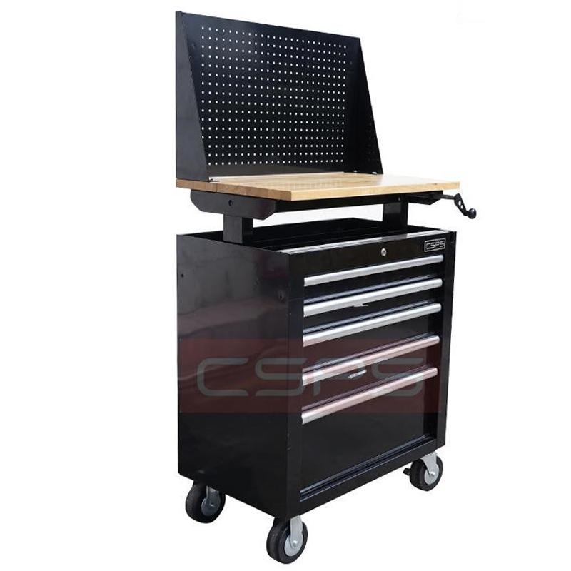 Tủ dụng cụ 5 ngăn mặt ván gỗ nâng hạ và vách lưới CSPS