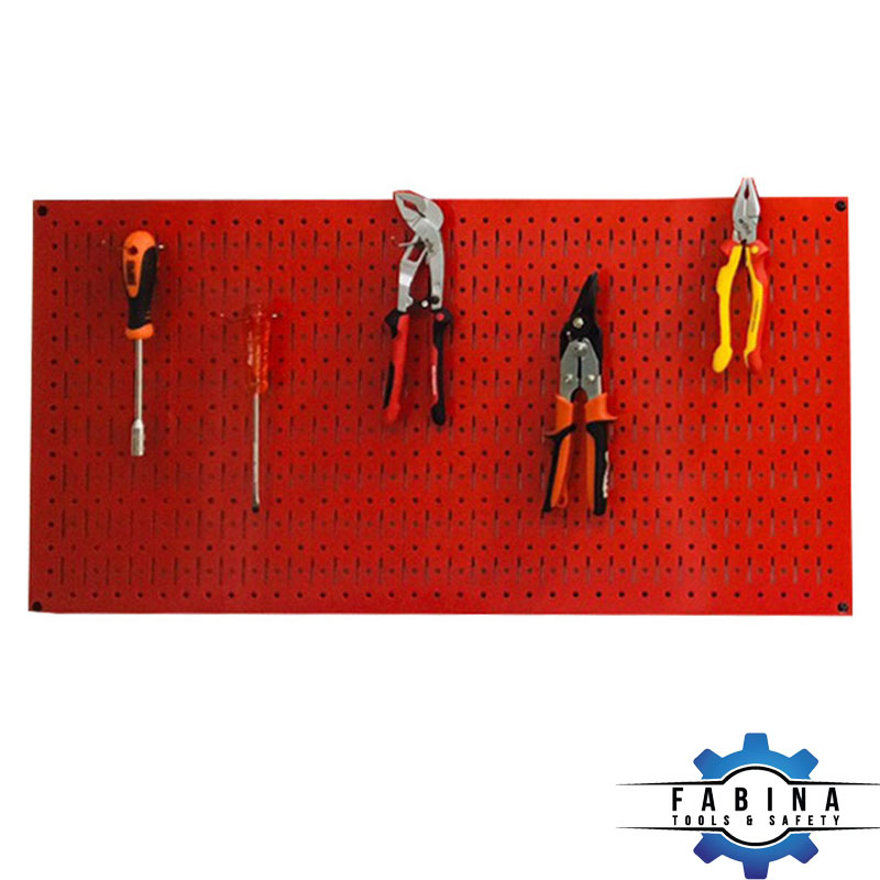 Vách lưới treo tường treo dụng cụ màu đỏ